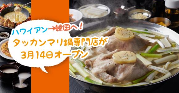 【開店】タッカンマリ鍋って何!?韓国料理のタッカンマリ食堂HANAさんが3月14日オープン予定みたい。[厚木市中町]